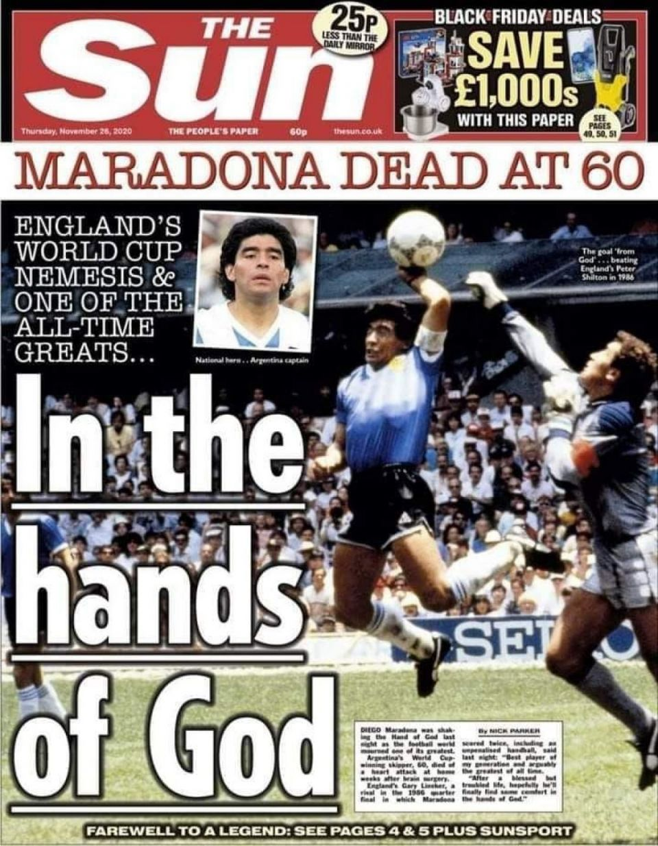 "Even in his death, Maradona hurts ""Great"" Britain"